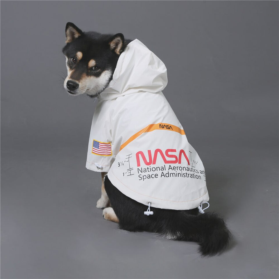 Reflective spacesuit large dog raincoat