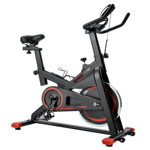 Chromed Flywheel, Silent Belt Drive Indoor Cycle Bike with Leather Resistance Pad by GT Red version