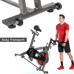 Indoor Cycling Bike w/ 4-Way Adjustable Handlebar & Seat, LCD Monitor/ Pulse Sensor for Home Cardio Workout Belt Drive Stationary Bike by MRS version