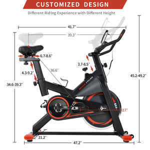 Chromed Flywheel, Silent Belt Drive Indoor Cycle Bike with Leather Resistance Pad by GT version