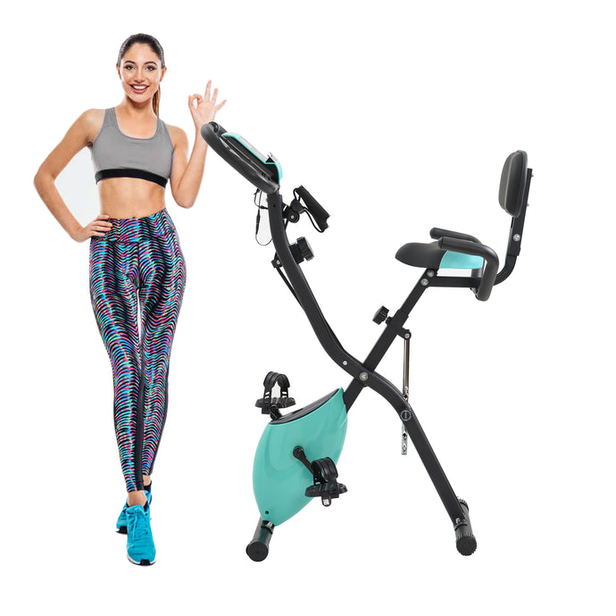 Folding Exercise Bike with 10-Level Adjustable Resistance, Fitness Upright and Recumbent Bike, LCD Monitor, Arm Tension Straps(New) by WM Tiffany blue version