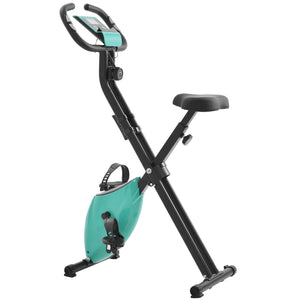 Folding Exercise Bike with 8-Level Adjustable Resistance, Adjustable Seat, LCD Monitor, Perfect for Home Use(New) by WM Tiffany Blue version