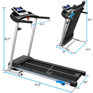 Electric Folding Treadmill Motorized Running Machine w/ Device Holder, Audio Speaker, 12 Programs and 3 Incline Levels by MRS version