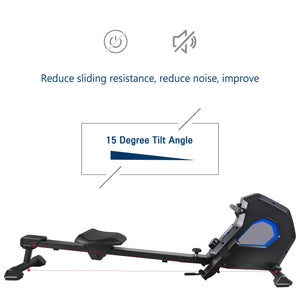 Foldable Magnetic Rower Rowing Machine with 8 Resistance for Full Body Exercise by MRS version