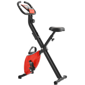 Folding Exercise Bike with 8-Level Adjustable Resistance, Adjustable Seat, LCD Monitor, Perfect for Home Use(New) by WM Black and Red version