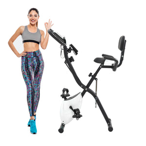 Folding Exercise Bike with 10-Level Adjustable Resistance, Fitness Upright and Recumbent Bike, LCD Monitor, Arm Tension Straps(New) by WM Black and white version