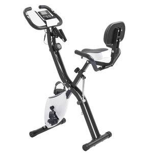 Folding Exercise Bike with 10-Level Adjustable Resistance, Fitness Upright and Recumbent Bike, LCD Monitor, Arm Tension Straps(New) by WM version