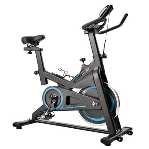 Chromed Flywheel, Silent Belt Drive Indoor Cycle Bike with Leather Resistance Pad by GT Blue version
