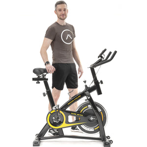 Indoor Cycling Bike Trainer with Comfortable Seat Cushion, Belt Drive System and LCD Monitor for Home Workout by MRS version