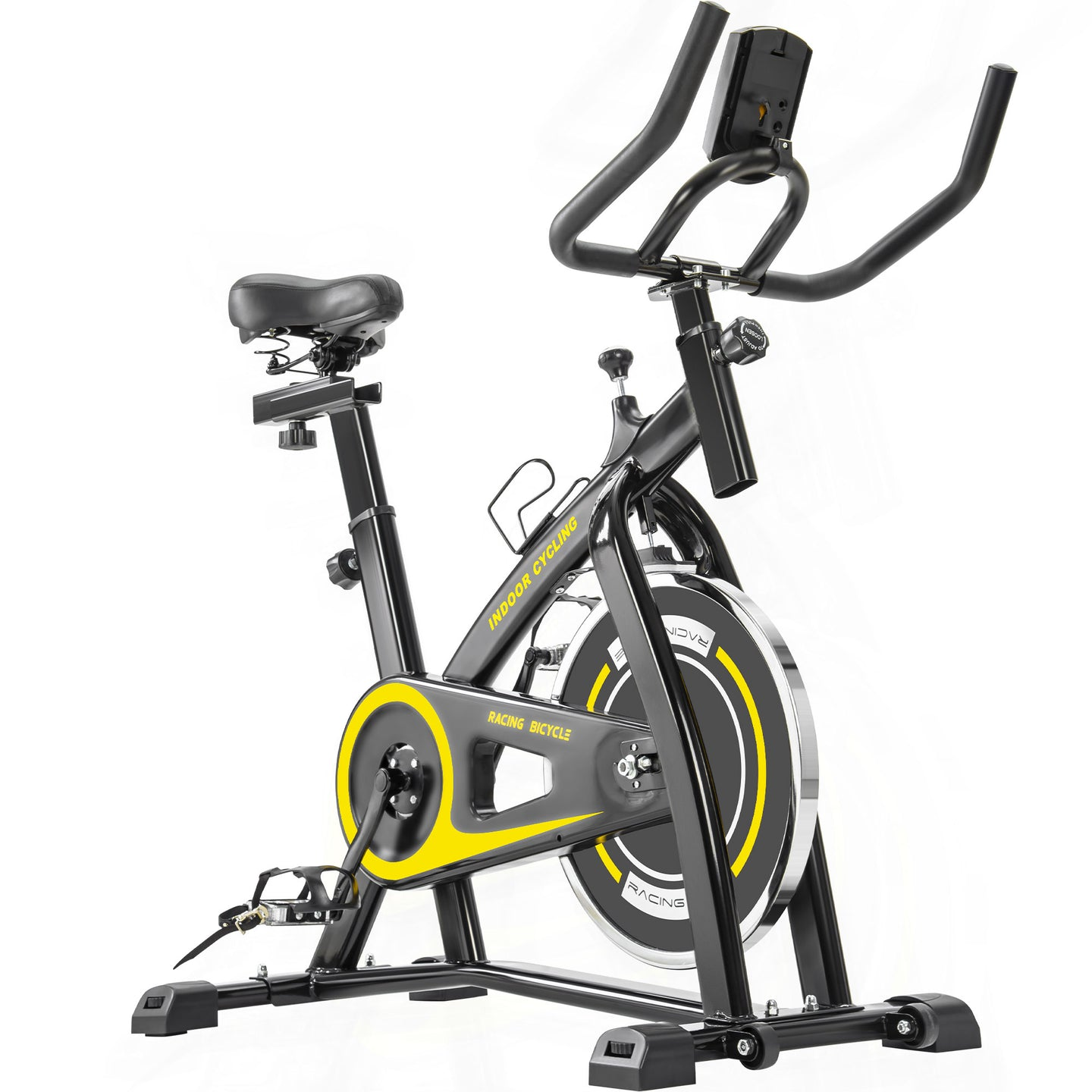 Indoor Cycling Bike Trainer with Comfortable Seat Cushion, Belt Drive System and LCD Monitor for Home Workout by MRS Yellow version