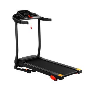 Home folding treadmill, 15 preset programs, with LED display panel, with MP3/USB playback function, black.