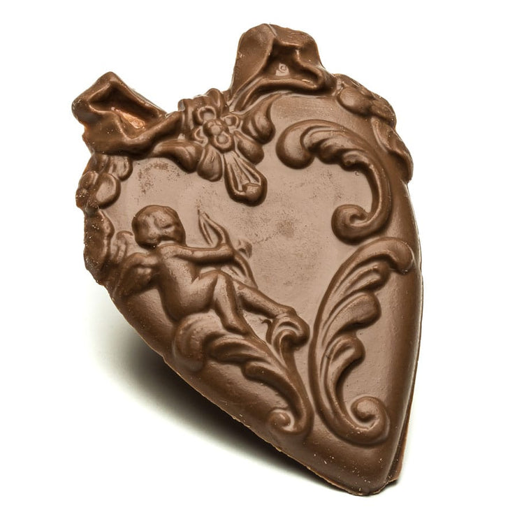 Milk Chocolate Heart with Bow and Cupid