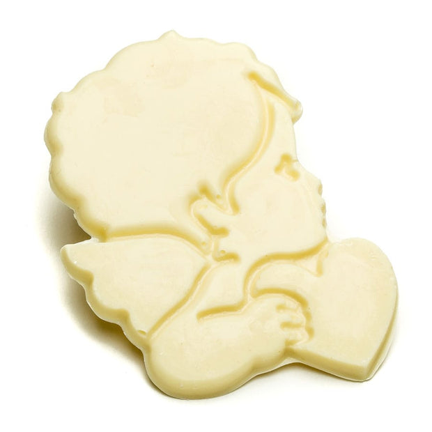 White Chocolate Cupid Holding Heart