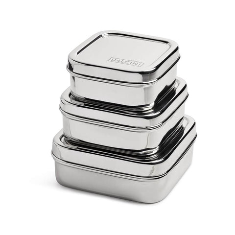 DALCINI STAINLESS STEEL 3 SQUARE CONTAINER SET