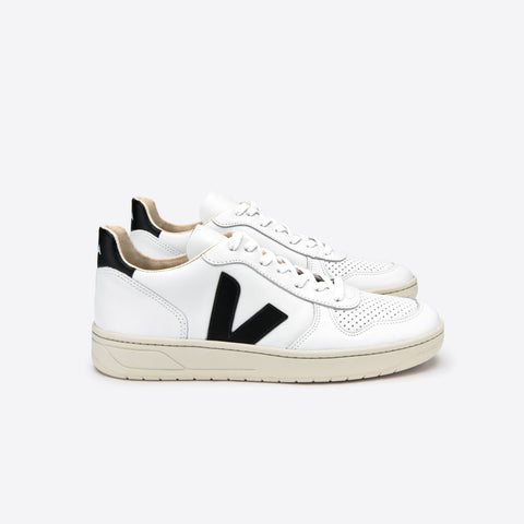 VEJA V-10 LEATHER EXTRA-WHITE BLACK