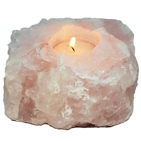 ROSE QUARTZ ROUGH CANDLE HOLDER