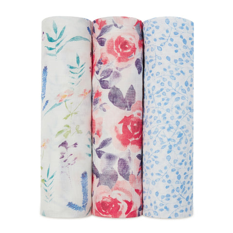 WATERCOLOR GARDEN SWADDLES 3 PACK