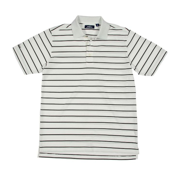 Cool Plus Pique Heritage Stripe Golf Polo Shirt - White