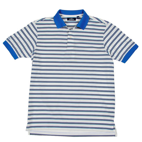 Dry Range Regimental Stripe Golf Polo Shirt - White