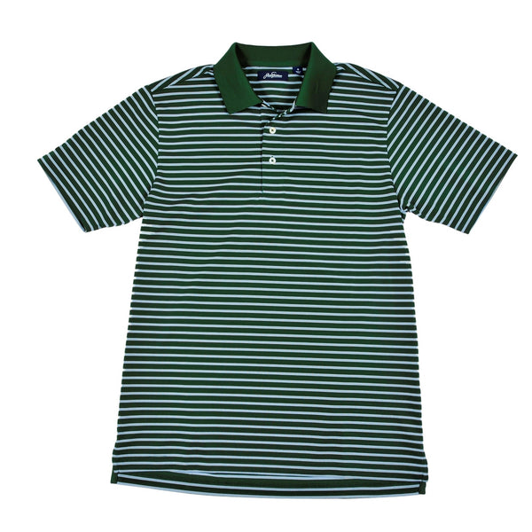Cool Plus Prep Stripe Golf Polo Green Shirt
