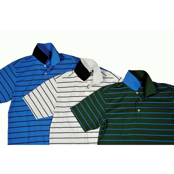 Cool Plus Pique Heritage Stripe Golf Polo Shirt - Green