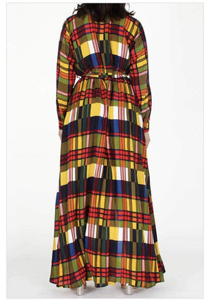 The Plaid Sista Maxi Dress - Her Worth Boutique
