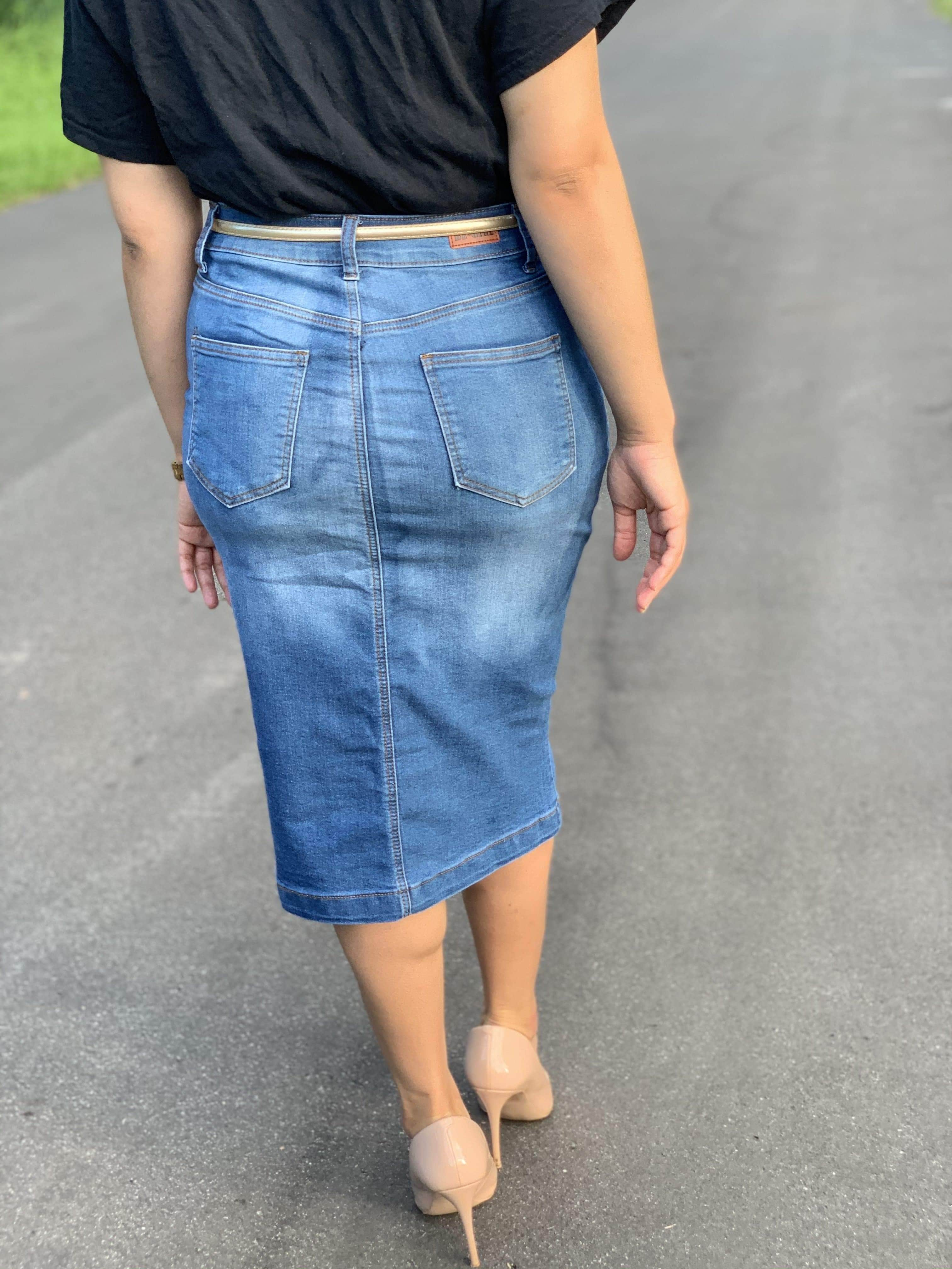The Mika Denim Skirt - Her Worth Boutique