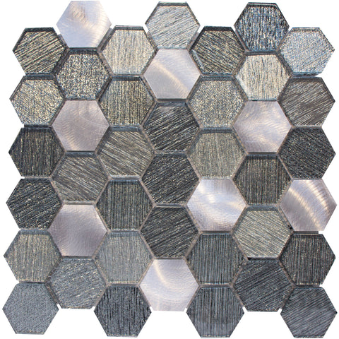"Cosmos 1"" x 1"" Metal and Glass Mosaic Tile - The Tile Life"