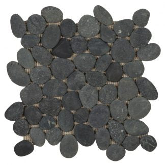 "Streambed 1"" x 1"" Natural Stone Pebble Tile - The Tile Life"