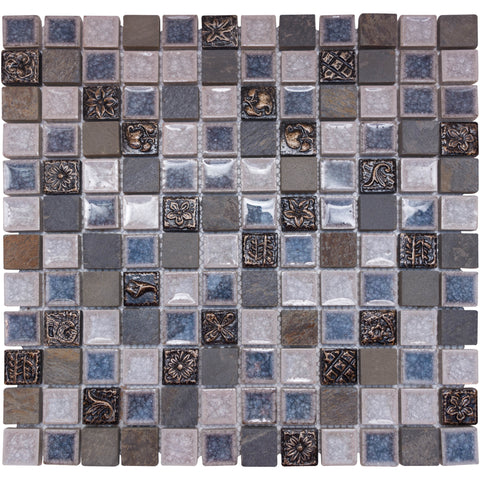 "1"" x 1"" Glass and Natural Stone Mosaic Tile - The Tile Life"