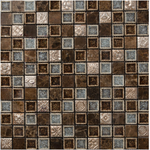 "Marbles 1"" x 1"" Glass Mosaic Tile - The Tile Life"