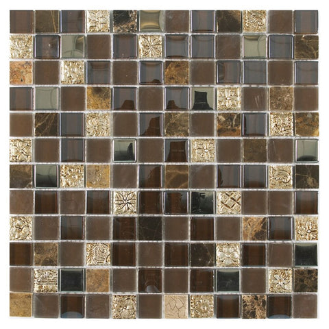 "Victory 1"" x 1"" Glass Stacked Stone Mosaic Tile - The Tile Life"