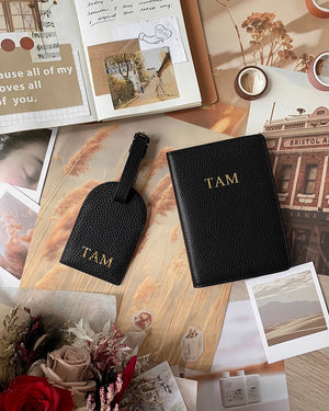 Travel Set (Passport Cover + Luggage Tag) - Black