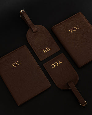 Travel Set (Passport Cover + Luggage Tag) - Brown