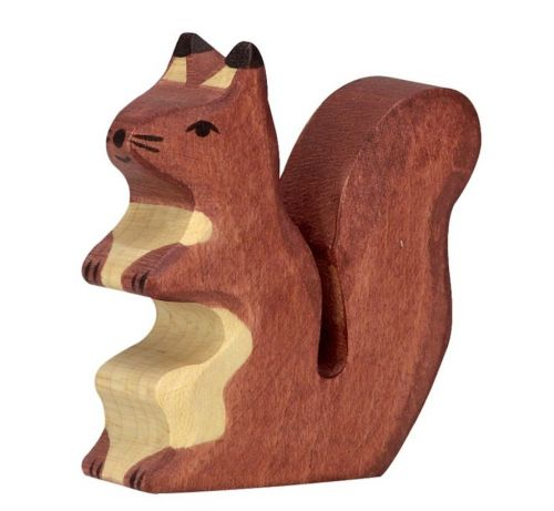 Brown Squirrel Wooden Figurine