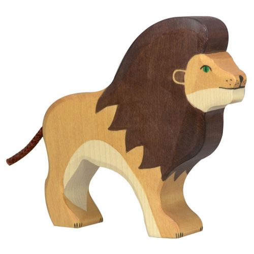 Standing Lion Wooden Figurine
