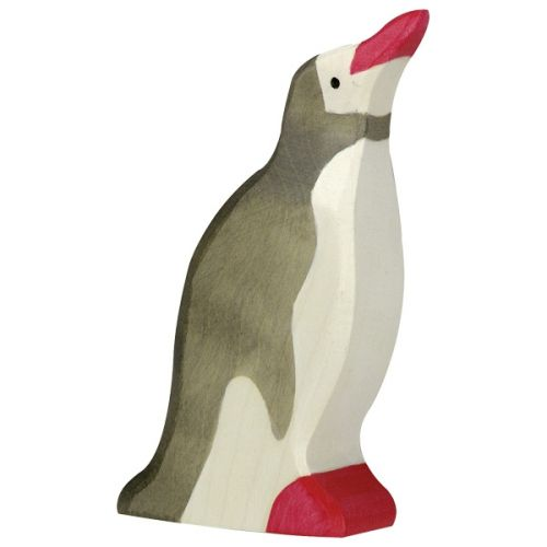 Raised Head Penguin Wooden Figurine