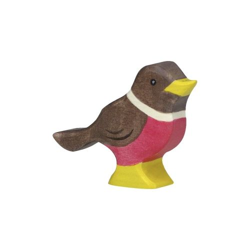 Sitting Robin Wooden Figurine
