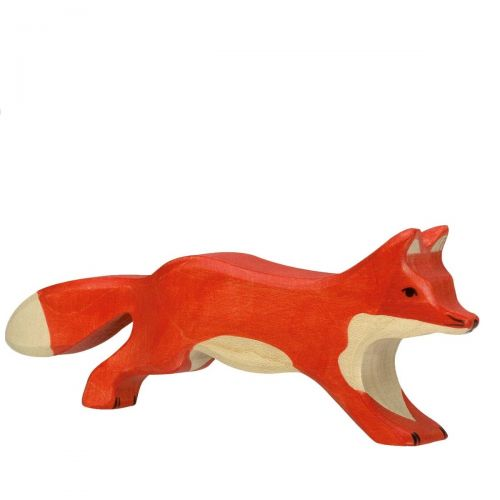 Running Fox Wooden Figurine