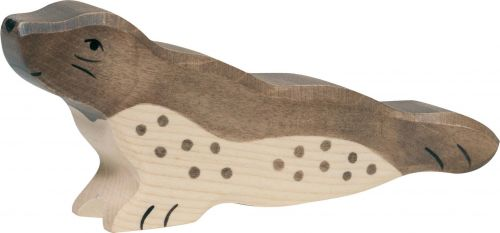 Lying Seal Wooden Figurine