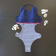Load image into Gallery viewer, Brazilian Swimwear One-piece Blue Navy