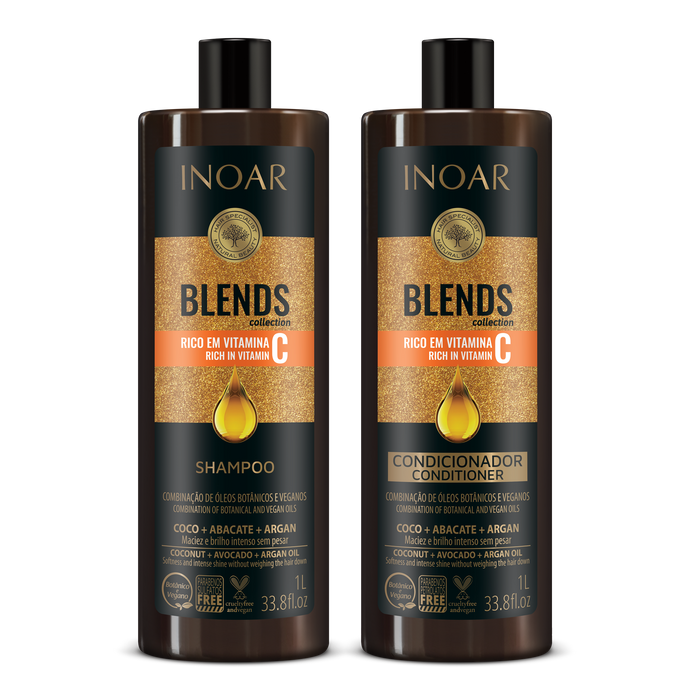 INOAR PROFESSIONAL - Blends Shampoo + Conditioner Kit (33.8oz/1L x 2)