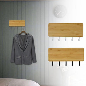 Space Saving Home Wall Hook Storage Rack Vintage Key Bamboo Hanger Hallway Home Decorative Room Small Bedroom Door Back Vintage