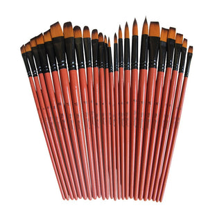 Art Model Paint Nylon Hair Acrylic Oil Watercolour Drawing Art Supplies Brown 6 Pcs Painting Craft Artist Paint Brushes Set