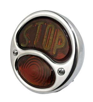 28 Duolamp Tail Light-Polished W/Stop Lens - No School Choppers