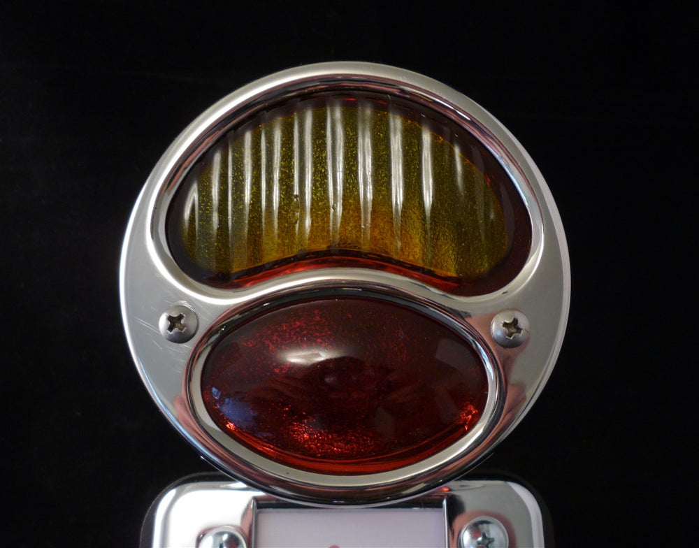 28 Duolamp Tail Light-Polished W/Red-Yellow Lens - No School Choppers