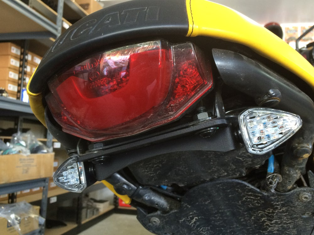 Ducati Scrambler Mini LED turn Signals and Relocation Bracket - No School Choppers