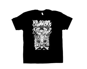 NSC Panhead T-Shirt White on Front of Black Shirt - No School Choppers