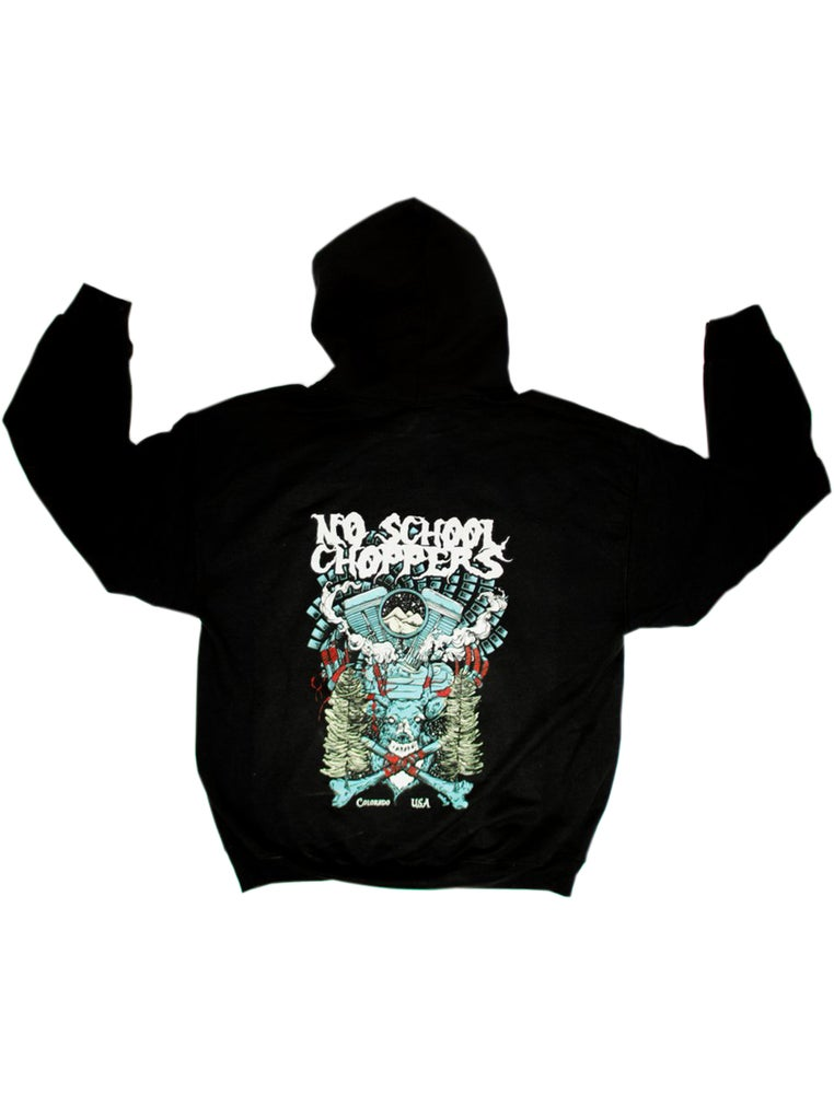 NSC Hooded Sweatshirt Designed by David Paul Seymour - No School Choppers