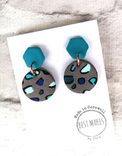Load image into Gallery viewer, Blue and grey leopard dangles